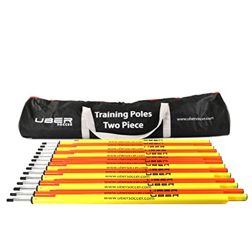Uber Soccer Speed and Agility Training Poles - Two Piece Training Poles - Set of 12