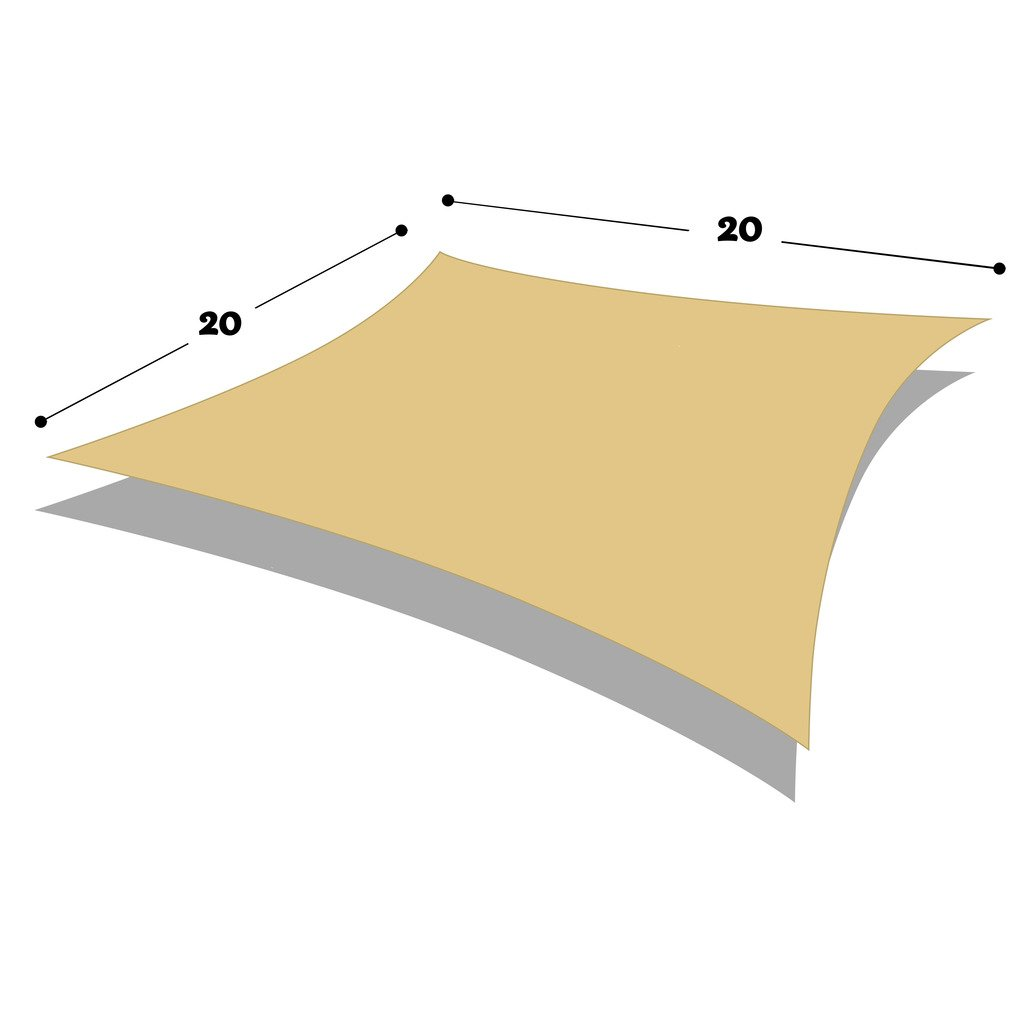 directshade DIR Square 20' X 20' Sun Shade Sail Uv Top Outdoor Canopy Patio Lawn Shade Sail in Color Sand
