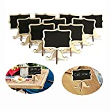 YuKing Mini Wooden Chalkboards Signs Rectangle Chalkboards Blackboard with Stand Wedding Place Card Label Tags, 3.26 x 2.36 Inch,Set of 10