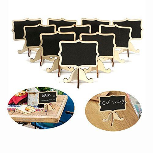 YuKing Mini Wooden Chalkboards Signs Rectangle Chalkboards Blackboard with Stand Wedding Place Card Label Tags, 3.26 x 2.36 Inch,Set of 10 - Wedding Cake Stand Set