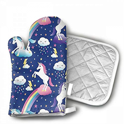 Unicorn Rainbows Oven Mitts,Professional Heat Resistant Micr