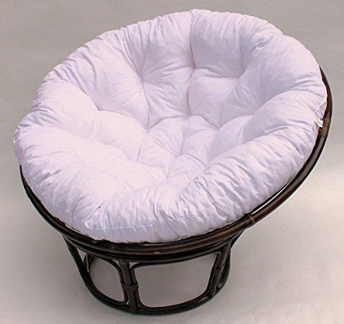 Rattan Papasan Sessel inkl. hochwertigen Polster , D 110 cm , Fb. darkbrown , Polster weiß
