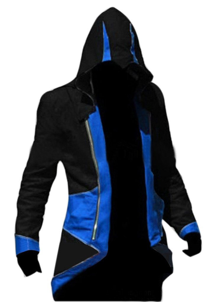 DAZCOS US Size Multicolor Killer Cosplay Coat Kenway Hoodie/Jacket (Men M, Black+Blue)