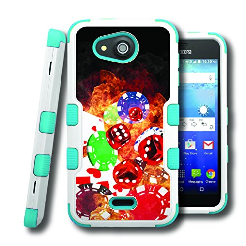 Hydro Wave Case, CASECREATOR[TM] For Kyocera Hydro Wave / Kyocera C6740 (T-Mobile, MetroPCS) -- NATURAL TUFF Hybrid Rubber Hard Snap-on Case Teal Blue White-Cards Dice Chips