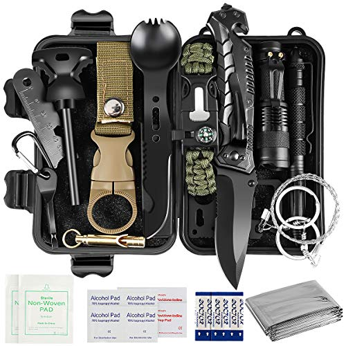 Gifts for Men Dad Husband, 35 in 1 Survival Gear and Equipment, First Aid Kit, Cool Gadget Birthday Ideas, Emergency Survival Kit for Camping Hiking Hunting Outdoors Adventures