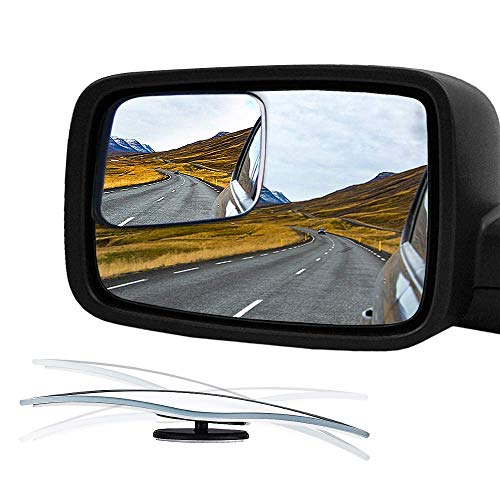 Audew Blind Spot Mirror for 2009-2018 Ram Truck & Other Trucks, HD Glass Frameless Convex Rear View Mirror, 360° Adjustable Car Mirror Stick-on Design (Pack of 2)