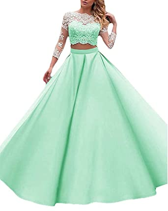 Ruisha Women Lace Long Sleeves Ball Gown Two Piece Prom Dresses Long Formal Evening Gowns RS0121