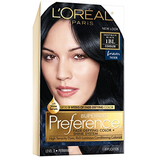 L'Oréal Paris Superior Preference Fade-Defying + Shine Permanent Hair Color, 1BL Deep Blue Black, 1 kit Hair Dye (Best Professional Blue Black Hair Dye)