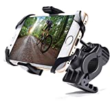 MICTUNING Bike and Motorcycle Cell Phone Mount, Universal For iPhone X iPhone 8, Samsung, any Smartphone and GPS, Bicycle Rack Handlebar and Motorcycle Cradle Holder with Security Band