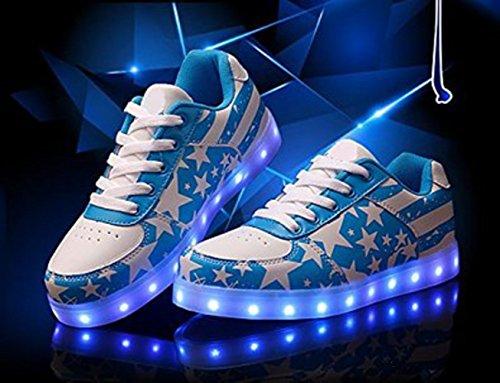 [Present:kleines Handtuch]JUNGLEST® Unisex High Top 7 Farben Blitzen LED Schuhe Damen Turnschuhe Hohe LED Licht Farbwechsel LED Lic Blau