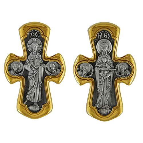 World Faith EC-92 Sterling Silver 925 22 K Gold Plate Icon Cross Jesus Christ and On The Back Side Mother of God with Saints 1 1/16 Inch