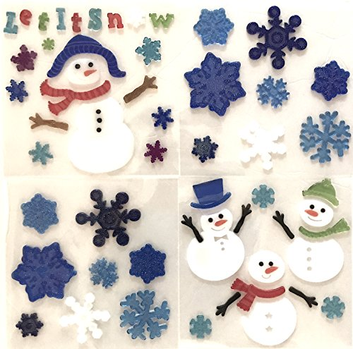 Holiday Snowman Snowflake and Friends Gel Clings: Winter 'Let It Snow' Decorations for Home Office Windows Mirrors and More!