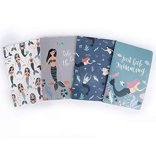 Promotional Pocket Calendars - MINILZY Notebook 4 pcs Mermaid Series Print DIY Memo Pad Soft Cover Mini Notebook Exercise Book Diary Pocket Notepad Promotional Gift Stationery,4 pcs