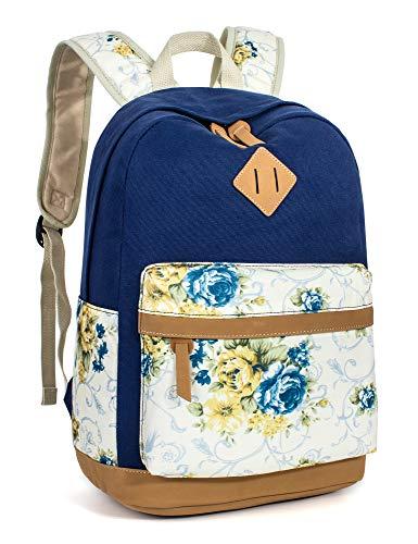 Leaper Floral School Backpack College Bookbag Shoulder Bag Satchel Navy Blue