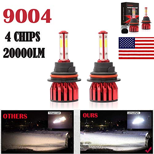 2Pcs 9004 Car LED Headlight Bulbs Conversion Kit - HB1-4 COB Chips Replace for High/Low Beam DRL Fog Light - 20000LM 6000K Pure White - 3Yr Warranty ()
