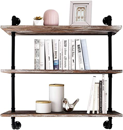 AZ L1 Life Concept Industrial Pipe Bookcase Shelf Retro Floating Wood Shelving - the best modern bookcase for the money