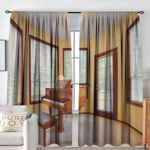 Petpany Window Curtains Antique,Round Room with Piano Lots of Windows Classic Architecture Furnished, Brown Pale Yellow White,for Room Darkening Panels for Living Room, Bedroom 54