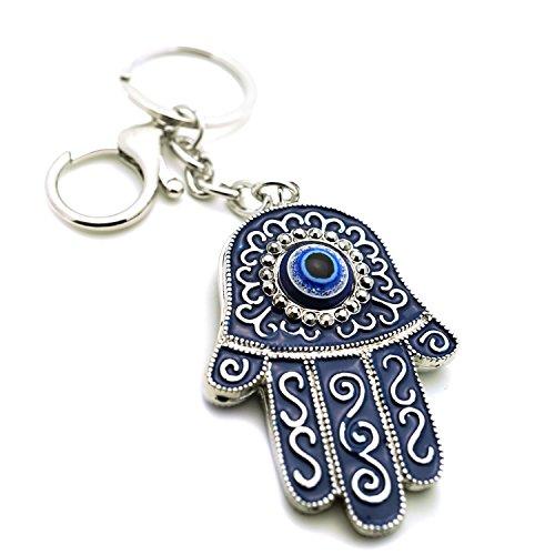 Teri's Boutique Blue Evil Eyes Good Luck Hamsa Turkish Woman Charm Purse Keychain (Evil Eye Silver Keychain)