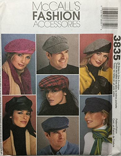 McCall's Fashion Accessories 3835 Sewing Pattern, Misses' And Men's Lined Hats, All - Fashion Accessories Mccalls
