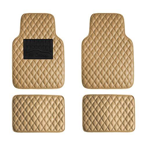 FH Group F12002BEIGE Luxury Universal All-Season Heavy-Duty Faux Leather Car Floor Mats Diamond Design w. High Tech 3-D Anti-Skid/Slip Backing (2006 Nissan Altima Floor Mats Oem)