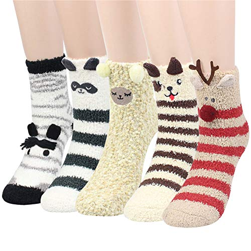 Womens 3D Animals Slipper Socks - 5 Pairs Girls Winter Cute Novelty Crew Fuzzy Fluffy Socks Value Pack (3D Animal Socks-5pairs)