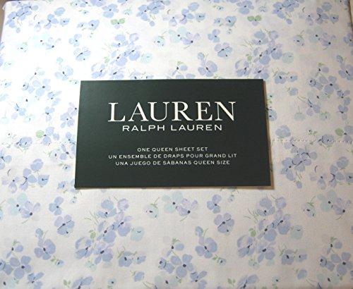 (Lauren 4 Piece Queen Size Small Floral Print Sheet Set Blueand White 100% Cotton)