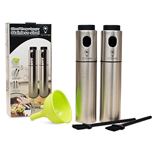 Oil And Vinegar Sprayer For Cooking By IQ Storage-Includes 2 Stainless Steel Refillable Mister Spray Dispensers, 2 Baking Brushes,1 Silicon Funnel-Ideal For Making Salad, BBQ, Grilling And Roasting by IQ Storage