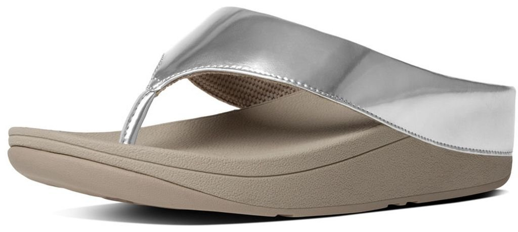 e295c5071ae328 Galleon - FitFlop™ Womens Ringer™ Leather Toe-Thong Sandals Silver Size 7