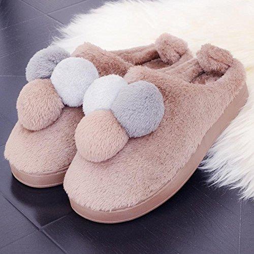 Fankou il creative paio di pantofole di cotone uomini pacchetto con l'inverno piscina home dormire scarpe Jane ha un antiscivolo tendenze Moda 1809 ,37-38, (rosa)