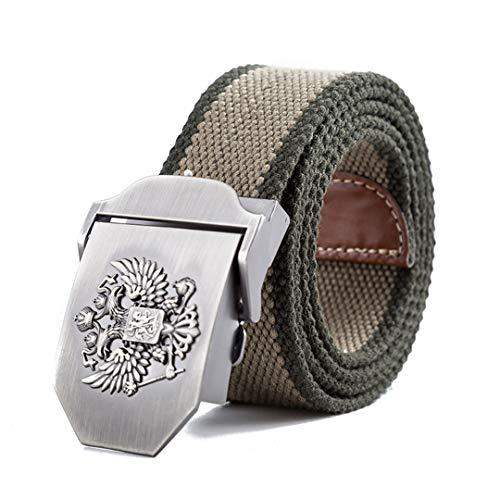 JUIHUGN Unisex Russian National Emblem Canvas Tactical Belt Military Belts for Mens & Women Luxury Patriot Jeans Belt Khaki Green 130cm