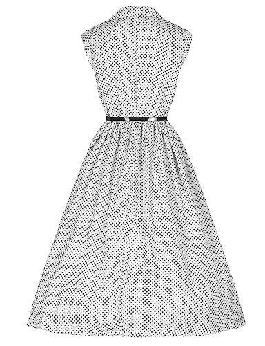 PU&PU Robe Aux femmes Swing Vintage,Points Polka Col en V Midi Coton , white-m , white-m