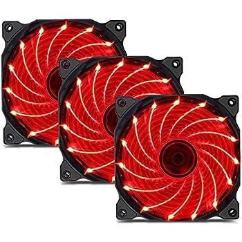 uphere 3-Pack Long Life Computer Case Fan 120mm Cooling Case Fan for Computer Cases Cooling 15LED Red,15R3-3