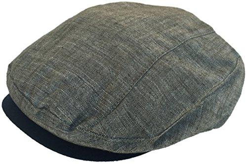 100% Linen Ivy Cap Linear Cut Newsboy (Olive, Large / (Lined Linen Cap)
