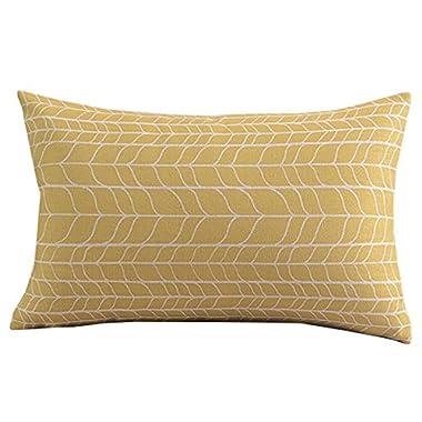 Create For-Life Cotton Linen Decorative Pillowcase Throw Pillow Cushion Cover Simple Chevron Yellow Rectangle 12  * 20
