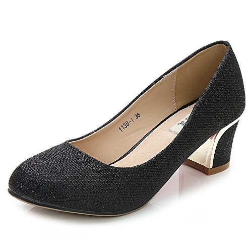 Womens Ladies Low Mid Block Heel Closed Toe Shoes Pumps Court Shoes Dress Evening Party Work Office Shoes Black