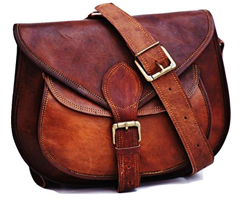 Satchelandfable Handmade Women Vintage Style Genuine Brown Leather Cross Body Shoulder Bag Handmade Purse