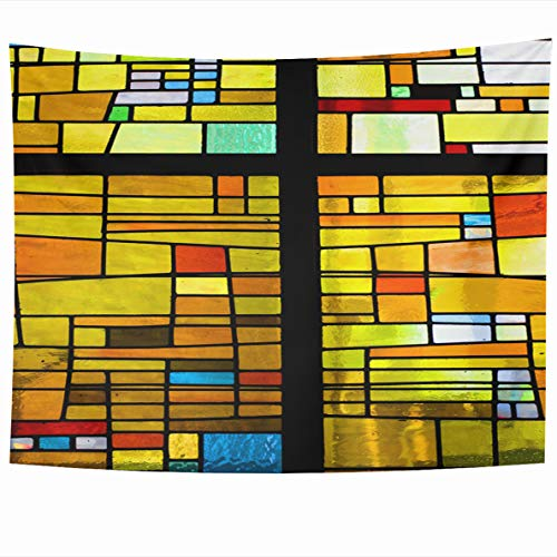 Ahawoso Tapestry 60x50 Inches Blue Window Multicolored Stained Glass Cross Brown Mosaic Color Church Design Wall Hanging Home Decor Tapestries for Living Room Bedroom Dorm