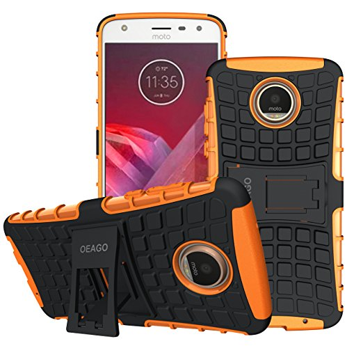 Moto Z2 Play Case, OEAGO [Shockproof] [Impact Protection] Tough Rugged Dual Layer Protective Case with Kickstand for Motorola Moto Z2 Play - Orange