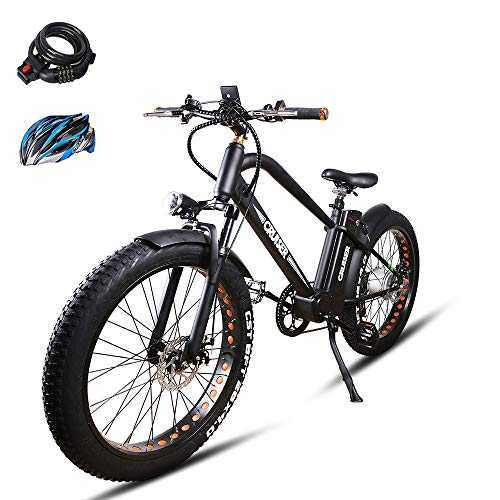 BRIGHT GG NAKTO 26 inch 500W Fat Tire Electric Bike for Adults Snow/Mountain/Beach Ebike with 6 Speed Gear and 48V12AH Lithium Battery