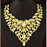 style11 yellow - Women Fashion Pendant Crystal Flower Choker Chunky Statement Chain Bib Necklace