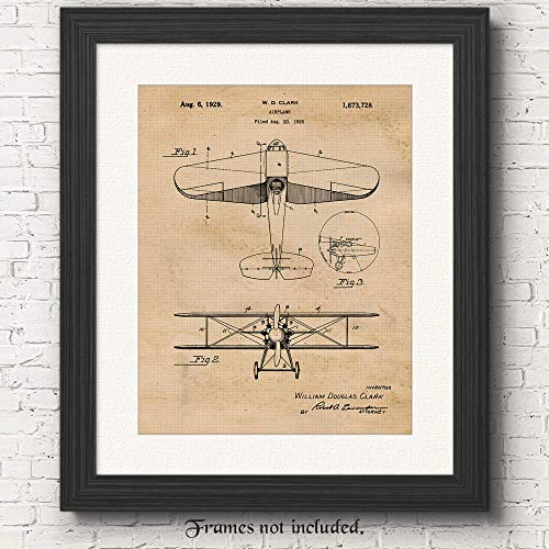 Original Vintage Airplane Patent Poster Print - Set of 1 (One 11x14) Unframed Picture - Great Wall Art Decor Gifts Under $15 for Home, Office, Studio, Pilot, Mechanic, Student, Instructor