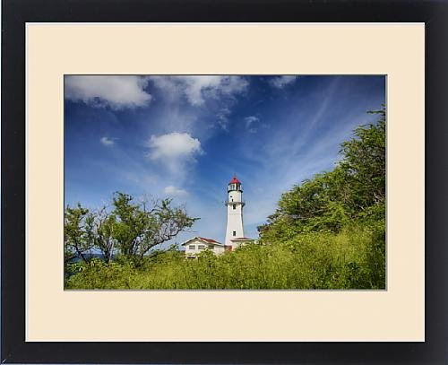 Framed Print of USA;Hawaii;Oahu;Morning light on Diamond Head Lighthouse with Puffy Clouds by Fine Art Storehouse