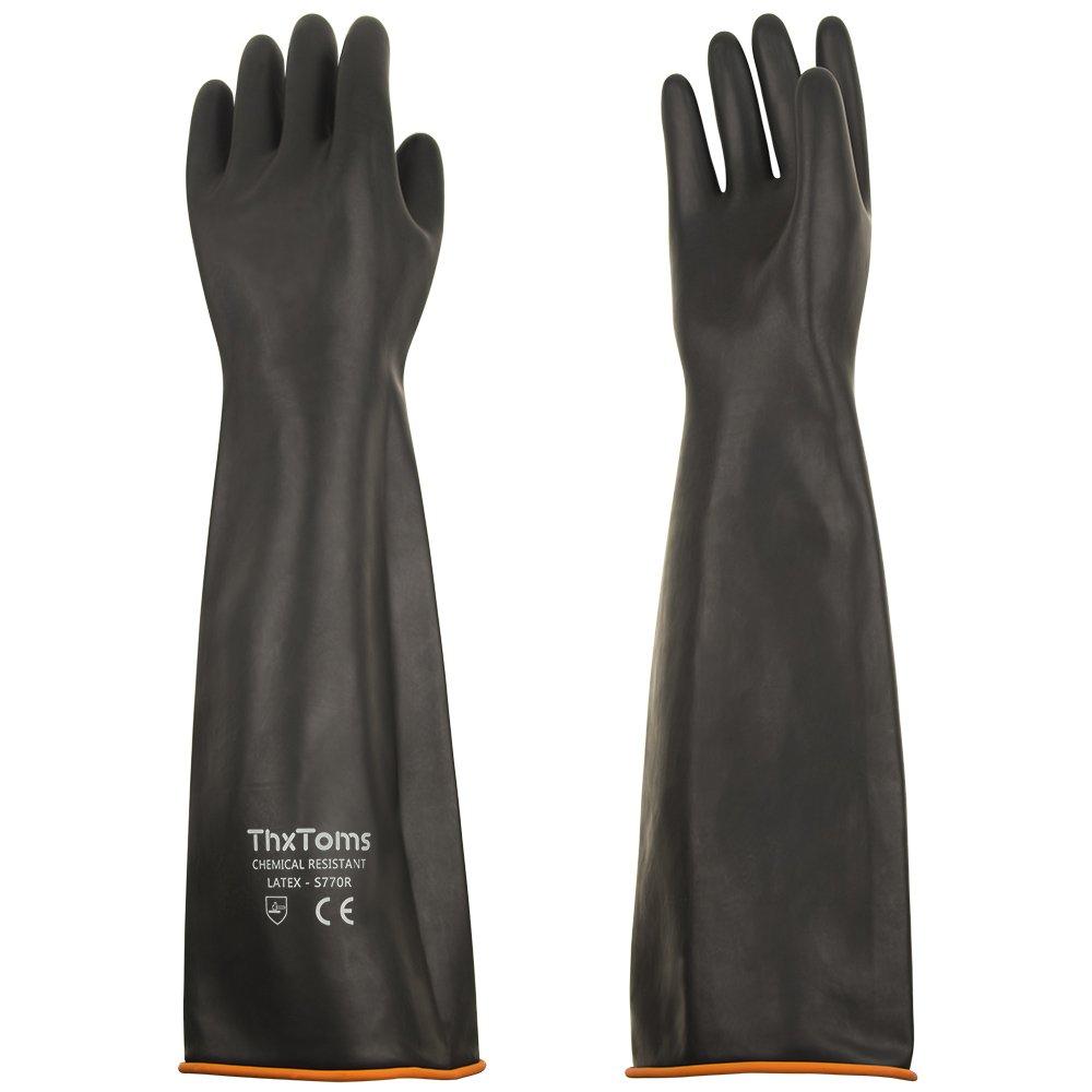 ThxToms - Guantes de lá tex resistentes a los á cidos, a los alcaloides y al aceite, negro