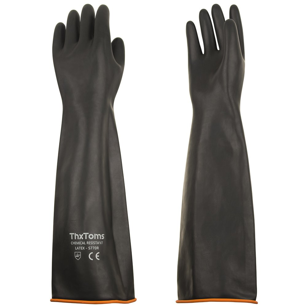 ThxToms Heavy Duty Latex Gloves, Resist Strong Acid, Alkali and Oil, 22'', 1 Pair