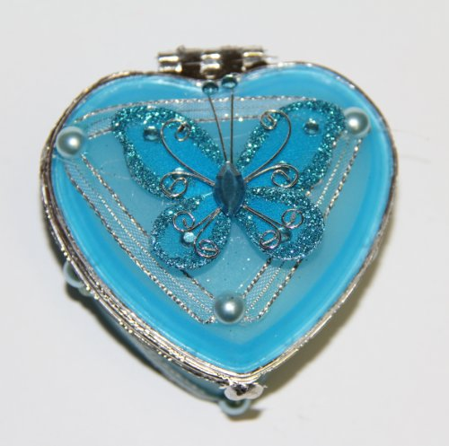 Heart Shaped Glass Jewelry Trinket Box with Butterly - Turquoise