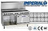 Imperial Commercial Restaurant Range 60'' W/ 10 Step Up Burner Oven/Cabinet Nat Gas Ir-10-Su-Xb