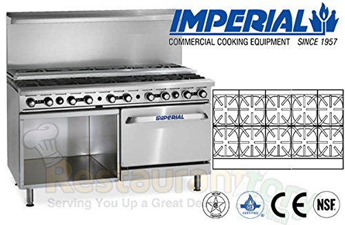 Imperial Commercial Restaurant Range 60'' W/ 10 Step Up Burner Oven/Cabinet Nat Gas Ir-10-Su-Xb by Imperial