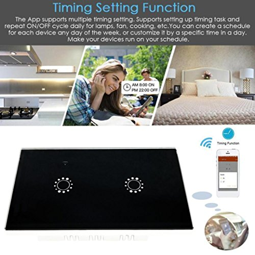 Switch Capacitive Hand Switch Wireless Remote Control Glass 2-gang Smart Home AU/US Crystal Waterproof Glass Touch Screen Light Switch&Mini Remote Wifi phone control (Black) by Liu Nian (Image #5)