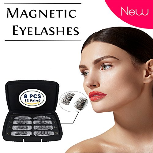 Magnetic Eyelashes 3D [No Glue] Reusable Dual Magnets Premium Quality False Eyelashes Makeup Natural Long Fake Handmade Eyelashes (2 pairs/ 8 - Premium Vegas Las South
