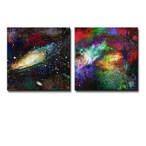 2 Piece Vibrantly Colored Galaxies